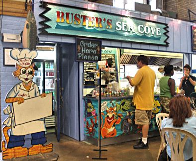 Buster's Sea Cove, St. Lawrence Market, Toronto, ON.    South side of the building - this vendor has the best swordfish sandwich you'll ever eat.