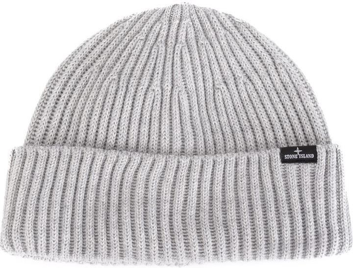 $108, Stone Island Ribbed Beanie. Sold by farfetch.com. Click for more info: https://lookastic.com/men/shop_items/315089/redirect