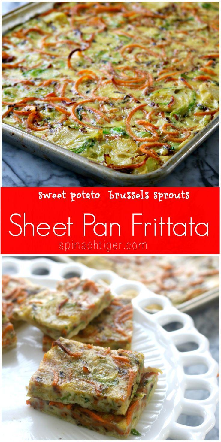 Vegetarian Frittata Recipe, a Sheet Pan Frittata   #justeatrealfood #spinachtiger