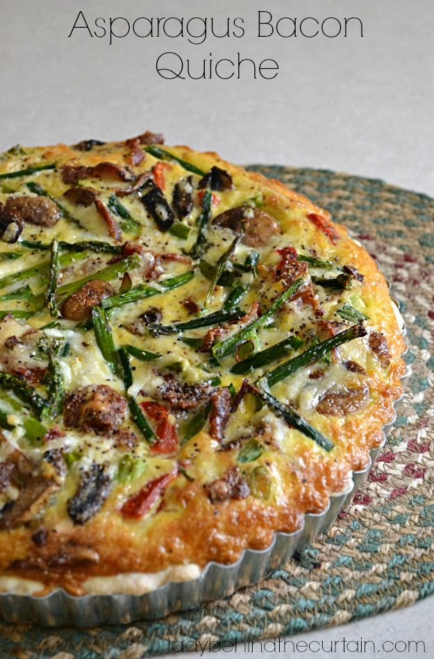 The BEST Quiche! That's what I kept hearing at the Ladies Brunch. This Asparagus Bacon Quiche is full of smoky bacon with fresh asparagus and creamy shredded cheese.