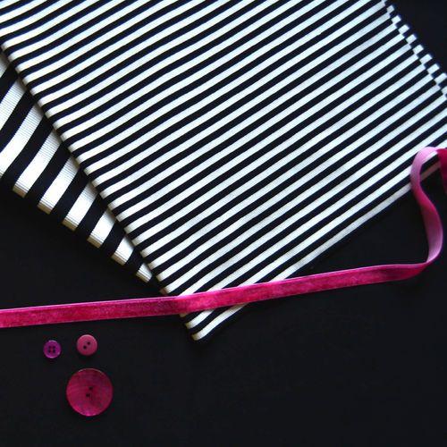 2x1 Stripe Rib, Black/ Vanilla