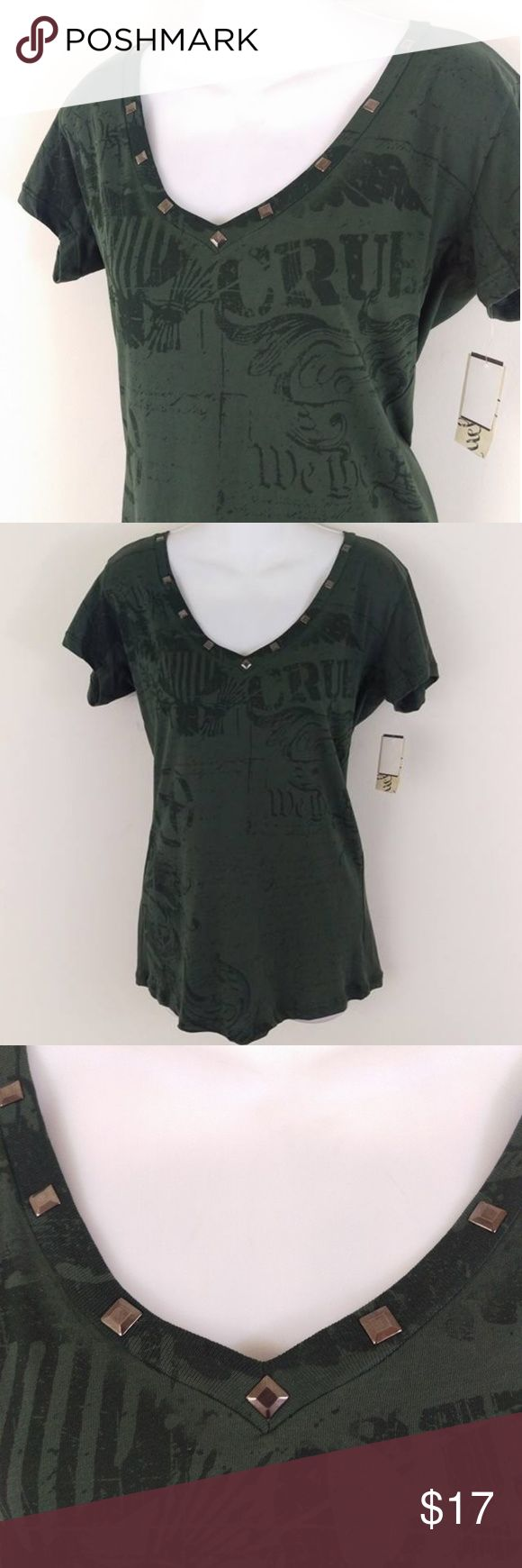 "Cruel Girl Army Green Studded Tee Grunge NWT Sexy v neck with studs. Army green soft. 100% cotton. Measurements are flat lay and the best way to determine proper sizing. Chest across at armpits 19"". Waist across 16-1/2"". Bottom hem 19*. Length from shoulder 27"".  New with tags. Smoke free. RT1 Cruel Girl Tops Tees - Short Sleeve"