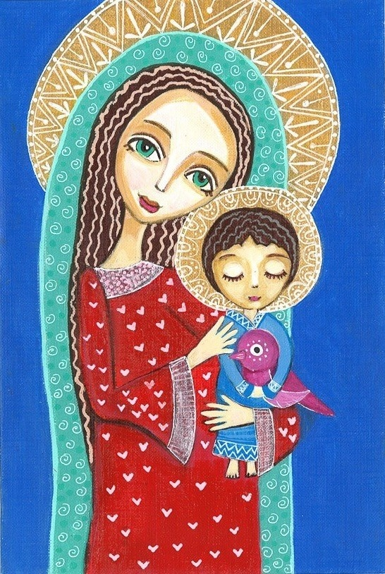 Folk Art Painting Jesus with Bird Print on Wood by Evonagallery