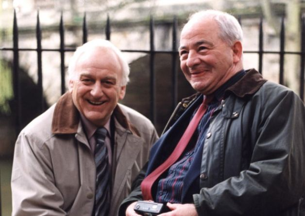John Thaw and Colin Dexter on the set of Inspector Morse