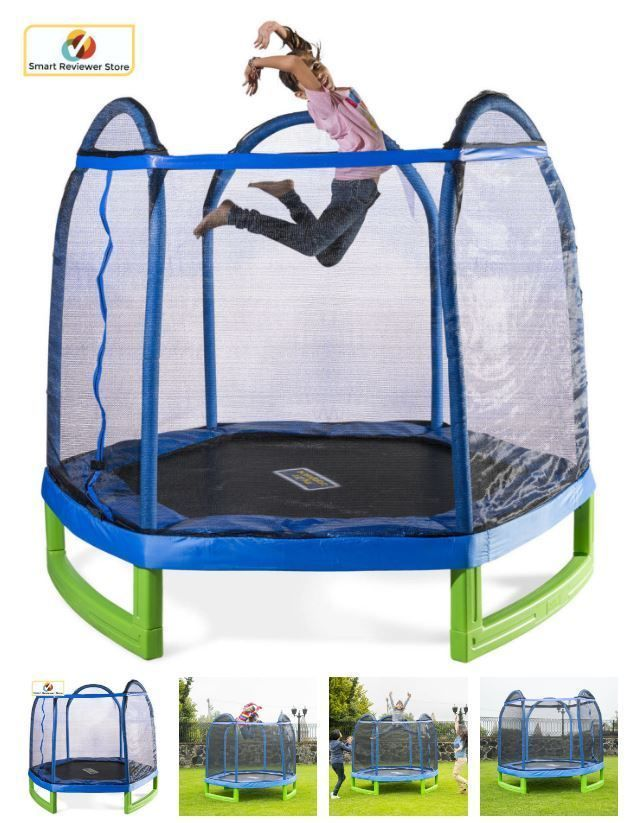7 Trampoline With Safety Enclosure Net For Kids Outdoor Jump Fun Bouncer Play Sports