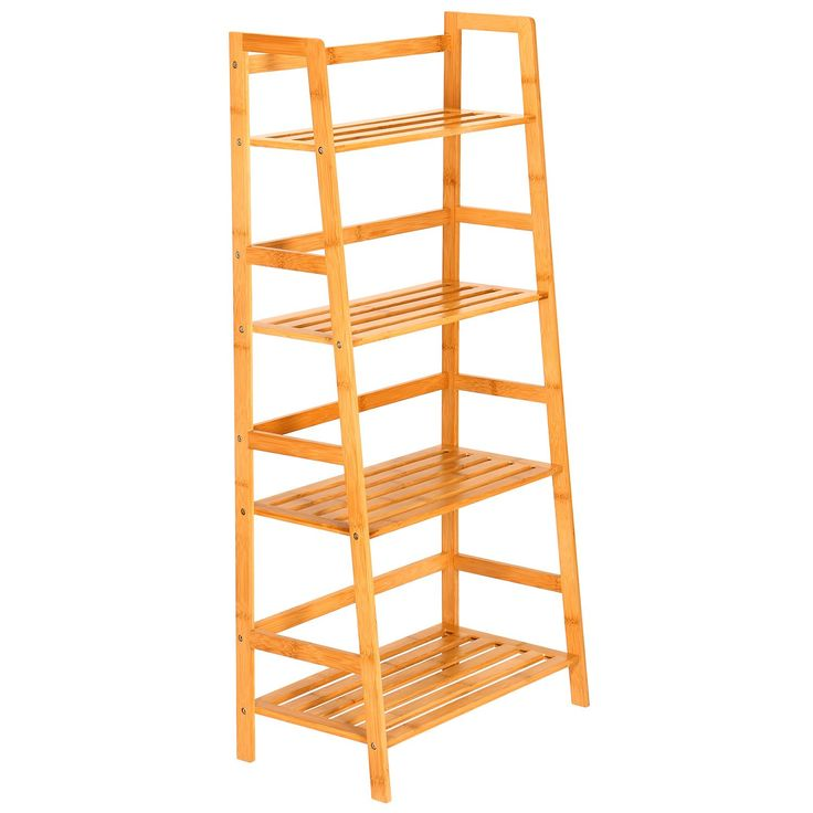 Ollieroo 100% Natural Bamboo 4 Tier Multifunctional Storage Rack Book Shelving Bookcase Ladder Rack Unit