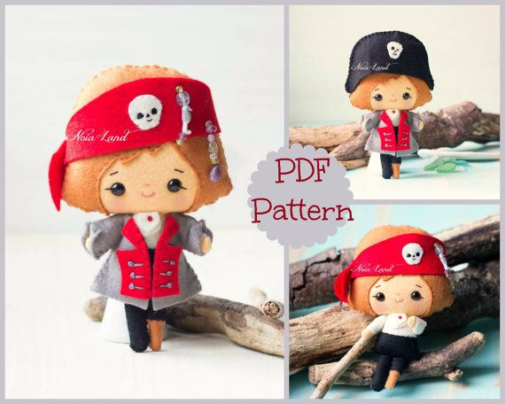 "This PDF sewing pattern is to make the pirate 7"" tall from felt fabrics. This doll is hand sewn.   THIS IS NOT A FINISHED DOLL. Pattern does not include"