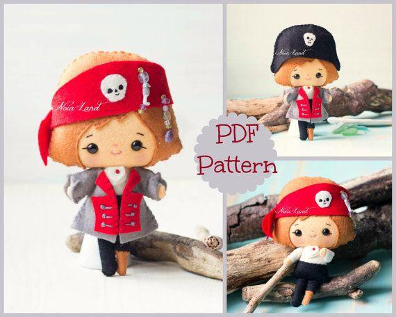The pirate. PDF pattern. Felt doll. by Noialand on Etsy