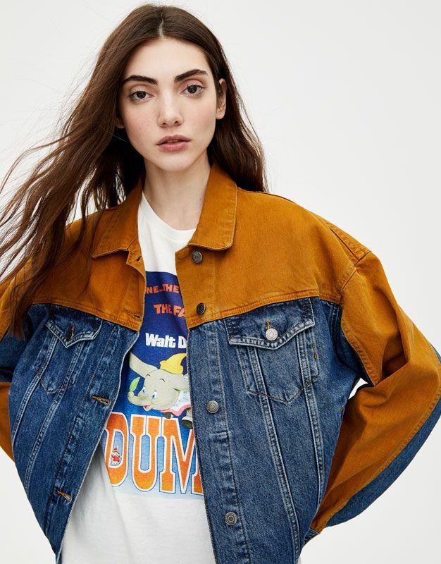 Oversized Two Tone Denim Jacket Mustard Denim Jacket Women Denim Fashion Denim Fashion Women