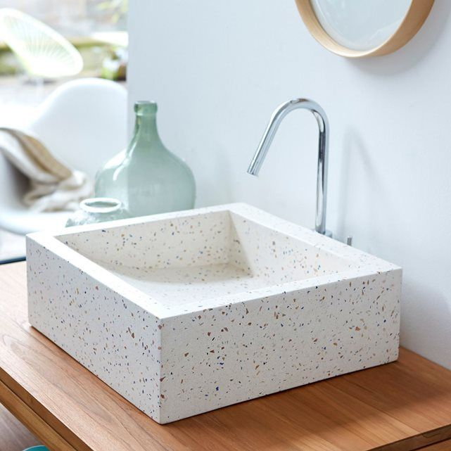 Vasque de salle de bain en terrazzo Pegase confetti 40 TIKAMOON