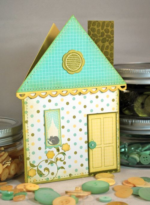Such a darling house shaped card. #cards #scrapbooking #crafts
