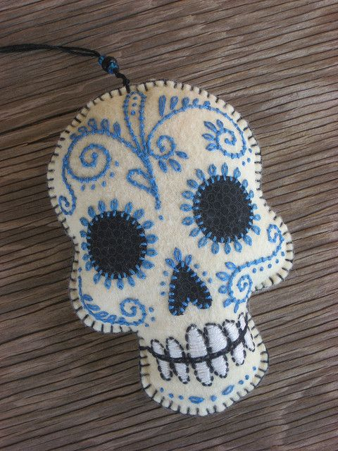 Mixed feeling about finding this sugar skull embroidery. I love it.  I also have been thinking of creating pendants created in a very similar way.| by 609East, via Flickr