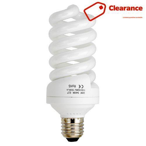 fotodiox 30 watt daylight compact fluorescent cfl light bulb full spectrum 5400k cri90 daylight white light highwattage bulb great for photo u0026 video