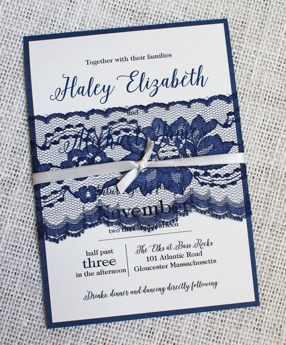 Navy Lace Wedding Invitation, These handmade modern wedding invitations are the perfect way to invite your family and friends to your wedding!