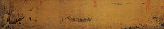 """《赤壁后游图》宋 马和之 绢本墨笔 纵25.8厘米 横143厘米 北京故宫博物院藏     《赤壁赋》是苏轼名篇。苏轼被贬黄州,两度夜游黄州赤壁,写下了前、后《赤壁赋》和调寄""""念奴娇""""的《赤壁怀古》,寄怀古幽思,泄胸中块磊。《前赤壁赋》主要写真景实情,《后赤壁赋》较多虚景幻境。马和之的《赤壁后游图》,并未按照原文次序描绘,而是妙造自如。画面景象比较简练,却点出了主要情节。一叶扁舟随波飘荡,艄公挟橹观景,正是""""放乎中流,听其所止而休焉""""的情景。courtesy of 哥隆艺术 GELONG ART blog.sina.com.cn/..."""
