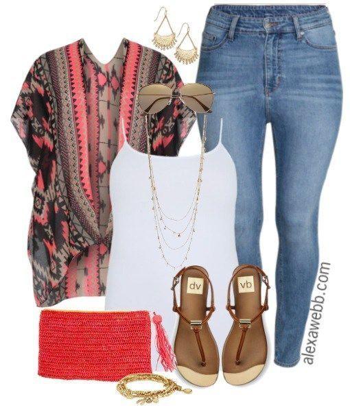 Plus Size Kimono & Jeans – Plus Size Outfit Idea – alexawebb.com #dressescasual …