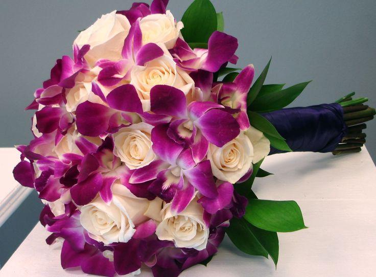 Bridal Bouquet Cream Roses And Purple Dendrobium Orchids