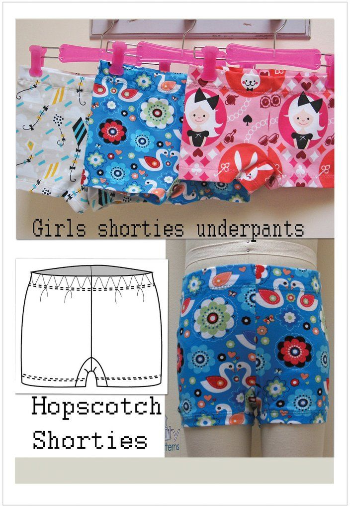 Hopscotch Shorties  girls shortie underpants sizes 2 to 14 years by Felicity Sewing Patterns https://felicitysewingpatterns.com/products/hopscotch-shorties-for-girls-2-to-14-years-by-felicity-sewing-patterns