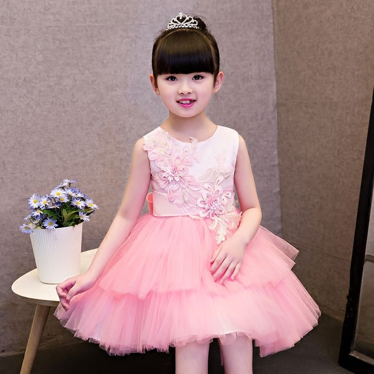 51.65$  Buy now - http://ali0la.shopchina.info/1/go.php?t=32806138933 - 2017 New Children Ceremonial Princess Pink Lace Dress Girls Wedding Bridal Birthday Party Dresses Costume Teenager Prom Designs  #buyininternet