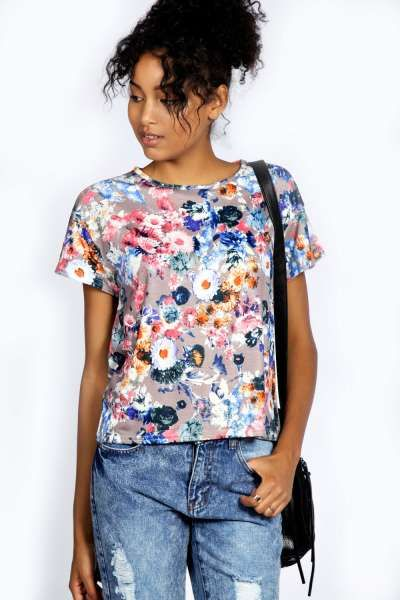 Angel Floral Print Shell Top