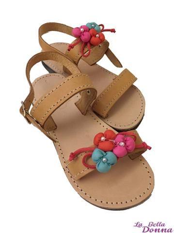 La Bella Donna - Χειροποίητα παιδικά σανδάλια - Flowers colour