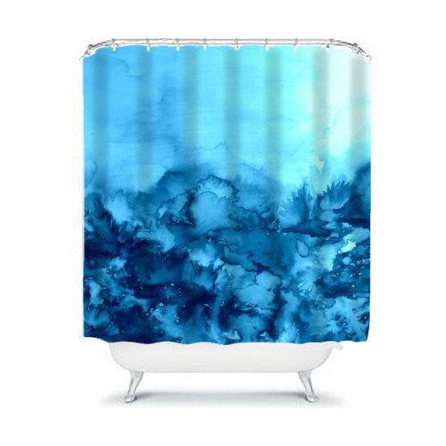 INTO ETERNITY Turquoise Fine Art Painting Shower Curtain by EbiEmporium, Whimsical Bright Colorful Light Blue Cerulean Abstract Watercolor Nature Outdoors Abstract Painting Modern Home Decor Bathroom, Chic Contemporary Decorative #interiors #colorful #art #fineart #turquoise #nature #watercolor #bathroom #shower #curtain #showercurtain #decor #homedecor #interiors #contemporary #cool