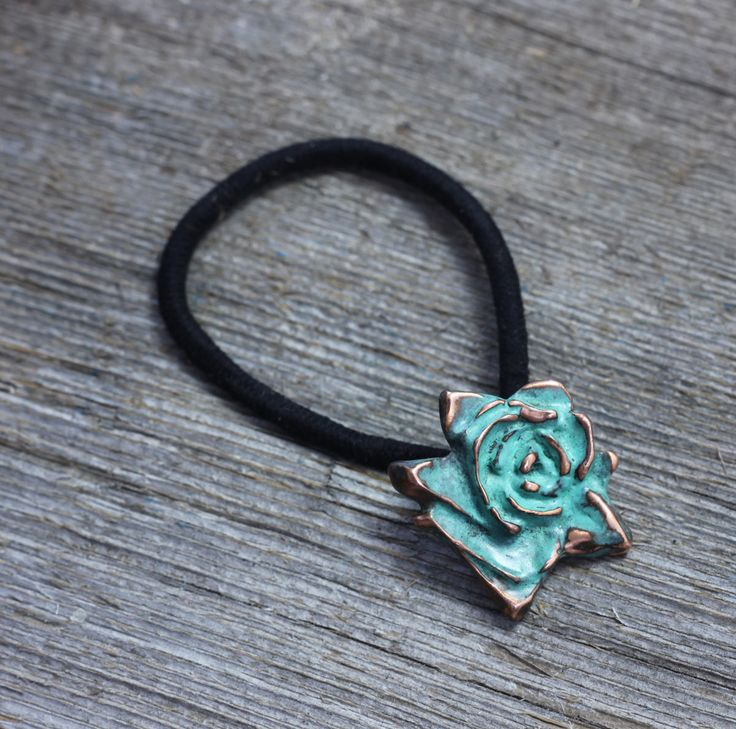 Copper patina rose hair elastic by EarthlyCreature on Etsy