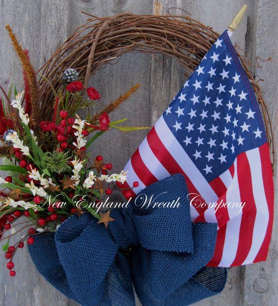 Americana Wreath Patriotic Wreath 4th of July by NewEnglandWreath
