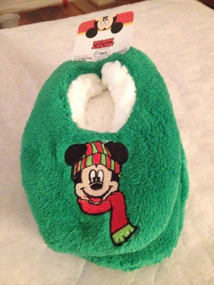 NWT Disney Mickey Mouse Slipper 3T - 4T Fuzzy Babba Socks Slippers Toddler Green #Disney #Slippers