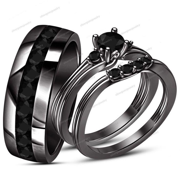 1.20 ct Black Diamond 14k Black Gold Fn 925 Silver Wedding Bridal Trio Ring Set #WeddingEngagementAnniversaryPromiseValentines
