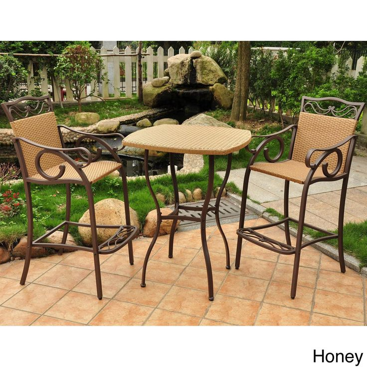 Bring Traditional Elegance To Your Outdoor Space With This Three Piece  Bistro. Made Of Durable Resin Wicker On A Steel Frame, This Set Is Weather   And UV  ... Part 43