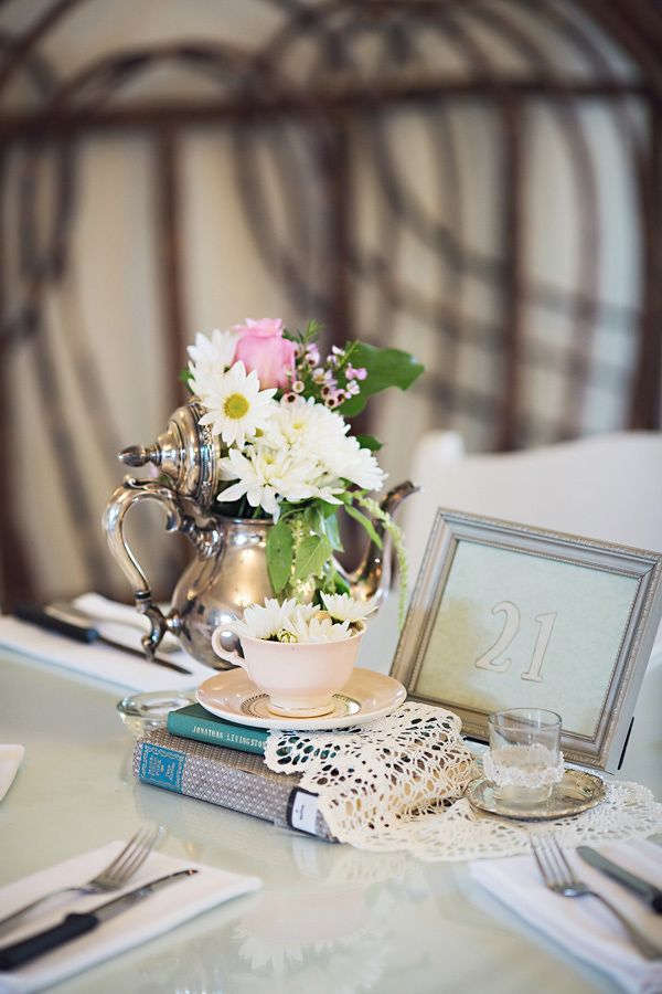 vintage teapot and table number ideas http://www.weddingchicks.com/2013/09/13/pink-and-mint-wedding/