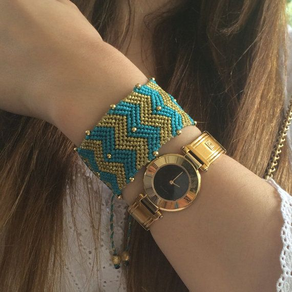 CLEOPATRA  macrame bracelet, in turqoise and gold color with waxed threads and special gold-plated ornaments,geometrical wide handmade cuff