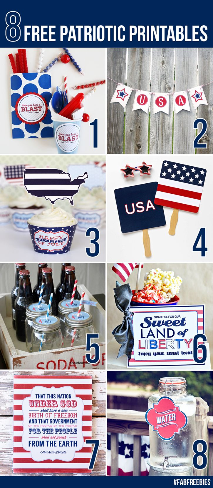 8 Patriotic Printables from your favorite bloggers! They're all FREE and they color coordinate!