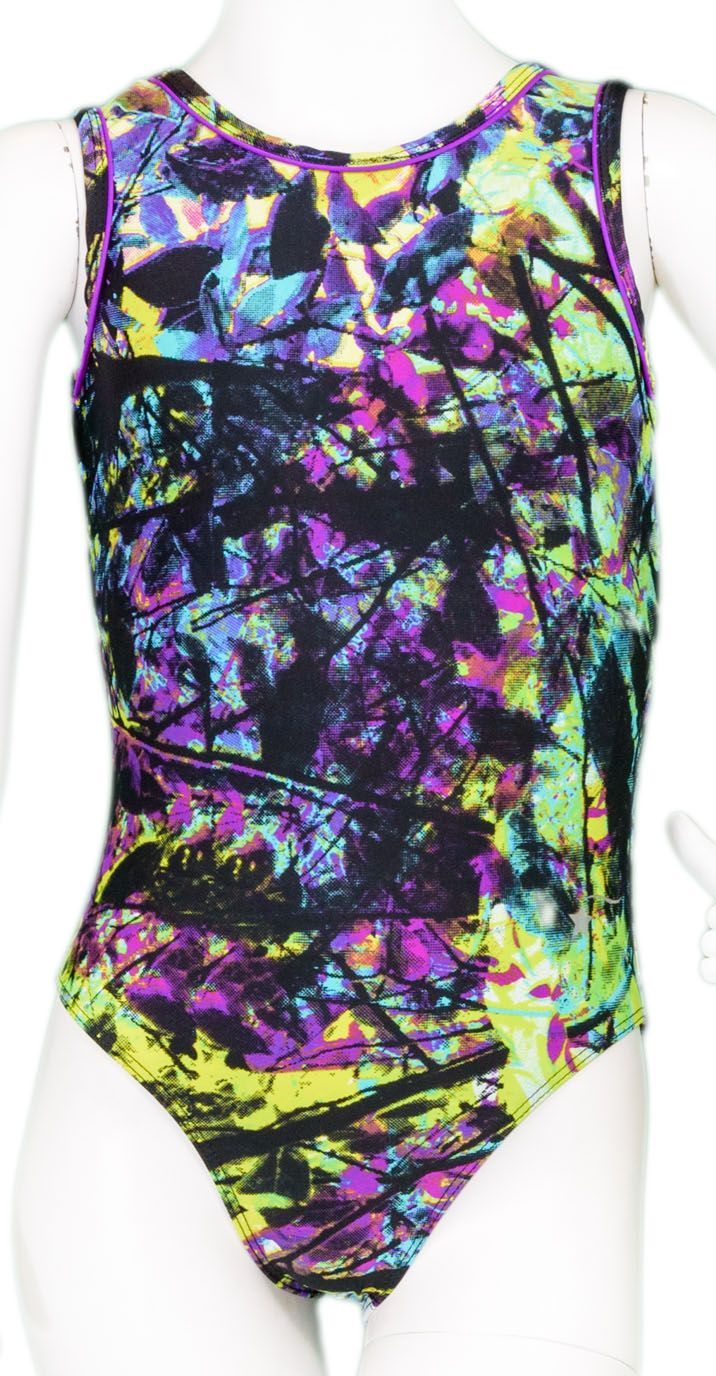 Neon Leaves Keyhole Leotard #leotards #gymnast #gymnastics