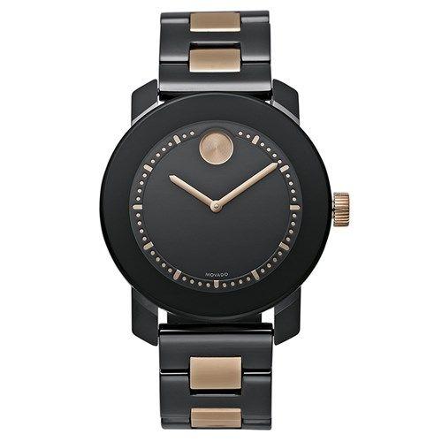 Relógio Feminino Movado com pulseira em aço preto e rosé. 3600183