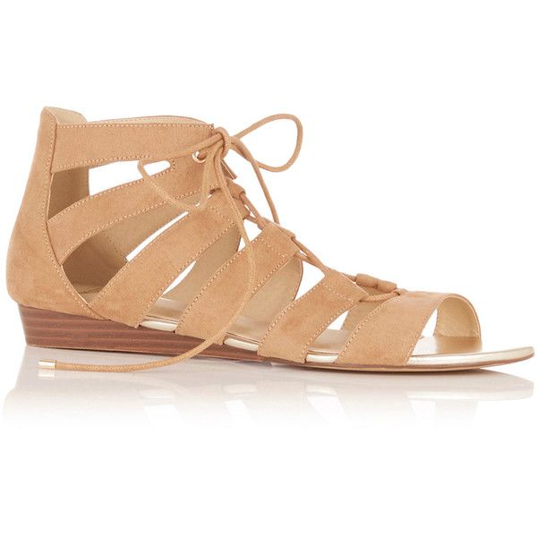 OASIS Winona Lace Up Ghillie Wedge Sandal (645 EGP) ❤ liked on Polyvore featuring shoes, sandals, natural, lace up wedge sandals, summer wedge shoes, oasis shoes, laced sandals and wedges shoes
