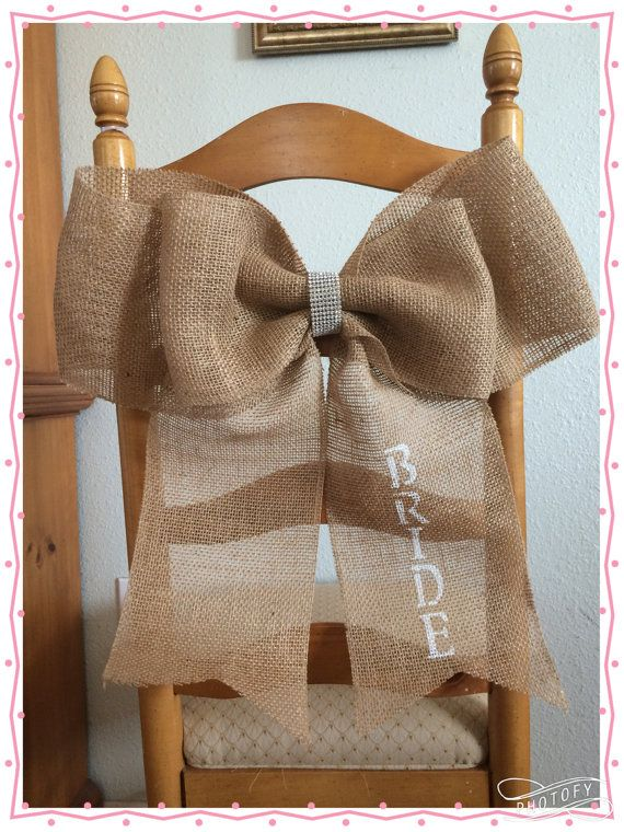 Wedding Burlap Pew or Chair Bow Bridal Shower by QueensBanners