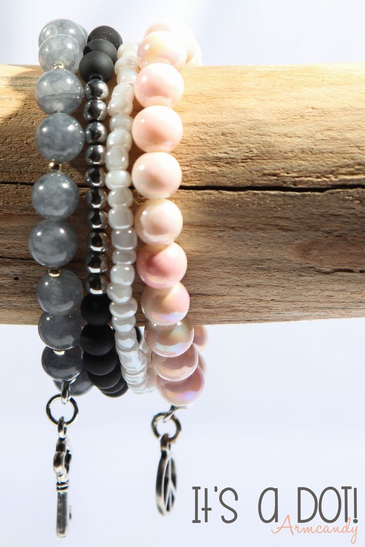 Armcandy, set van 4 armbanden met diverse kralen en bedels. DottiesDesign.nl | It's a DOT! Armcandy