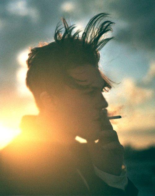 sunset, hair, smoke, male, photography
