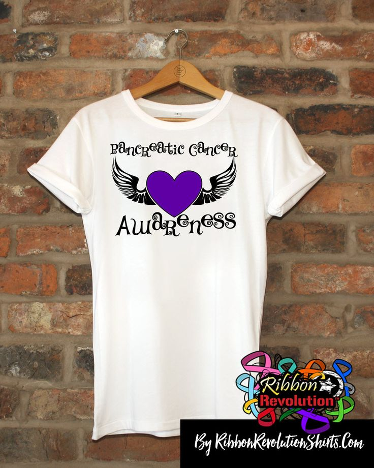 Stand out to raise awareness with Pancreatic Cancer Awareness Purple Heart Tattoo Wing Shirts to support your cause and those you love battling Pancreatic Cancer.