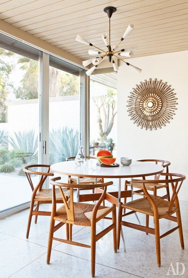 bright dining space with modernist lighting and a midcentury modern dining set - Modern Dining Set