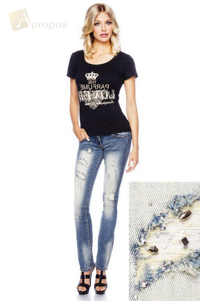 Jeans Hose Slim Fit Ripped Denim Damen Frayed Skinny Used Look Strass Blau