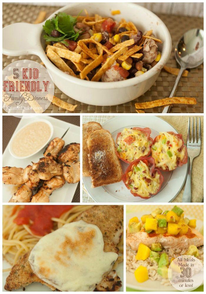 Kid Friendly Family Dinners in under 30 minutes    KristenDuke.com #mealplanning #meals #recipes