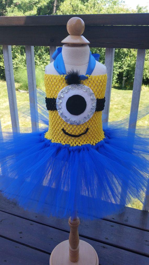 Minion Tutu Dress - Girls Minion Costume - Blue and Yellow Tutu Dress - Baby Minion Costume