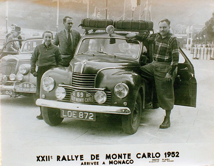 Jowett Javelin, arriving at the 1952 Monte Carlo Rally.  Family fun? You bet!
