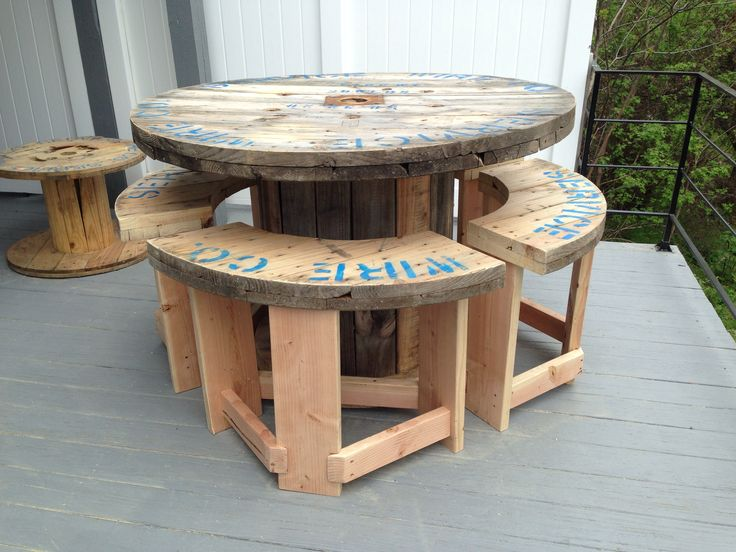 5' wire spool I made into a bar height patio table with 4 stools. http://www.uk-rattanfurniture.com/product/miadomodo-set-of-2-rattan-chairs-with-seat-cushions-brown-outdoor-garden-patio-furniture/