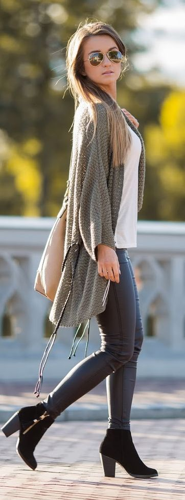 #Winter #Outfits / Green Sweater - Faux Gray Pants