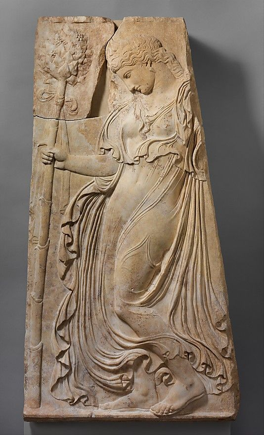 Relief with a dancing maenad, ca. 27 B.C.–14 A.D.; Augustan Roman copy