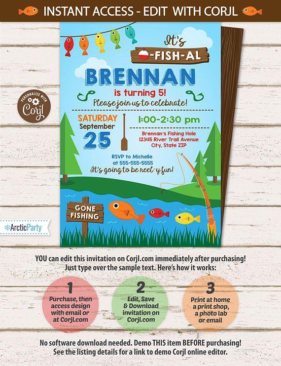 Fishing Birthday Party Invitations Fishing Party Invitation $7.99 #FishingBirthdayPartyInvitations #FishingPartyInvitation #FishingPartySupplies #Corjl